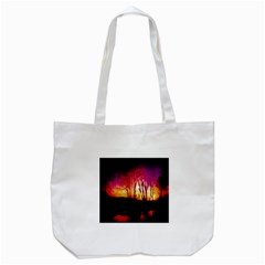 Fall Forest Background Tote Bag (White)