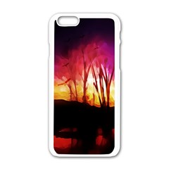 Fall Forest Background Apple Iphone 6/6s White Enamel Case