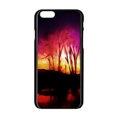 Fall Forest Background Apple Iphone 6/6s Black Enamel Case