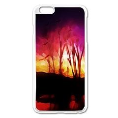 Fall Forest Background Apple iPhone 6 Plus/6S Plus Enamel White Case