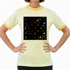 Geometric Line Art Background In Multi Colours Women s Fitted Ringer T-Shirts