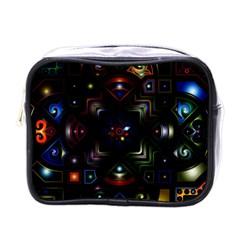 Geometric Line Art Background In Multi Colours Mini Toiletries Bags