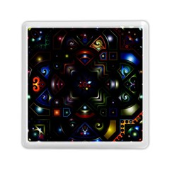 Geometric Line Art Background In Multi Colours Memory Card Reader (square)