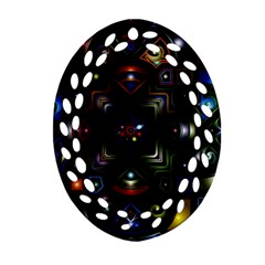 Geometric Line Art Background In Multi Colours Oval Filigree Ornament (Two Sides)