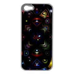 Geometric Line Art Background In Multi Colours Apple iPhone 5 Case (Silver)