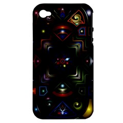 Geometric Line Art Background In Multi Colours Apple iPhone 4/4S Hardshell Case (PC+Silicone)