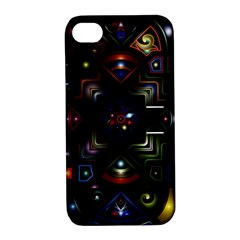 Geometric Line Art Background In Multi Colours Apple iPhone 4/4S Hardshell Case with Stand