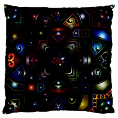 Geometric Line Art Background In Multi Colours Large Flano Cushion Case (One Side)