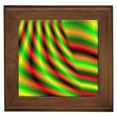 Neon Color Fractal Lines Framed Tiles