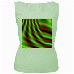 Neon Color Fractal Lines Women s Green Tank Top