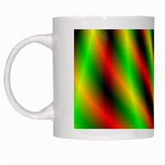 Neon Color Fractal Lines White Mugs