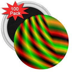Neon Color Fractal Lines 3  Magnets (100 pack)
