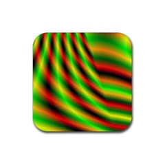Neon Color Fractal Lines Rubber Coaster (square)