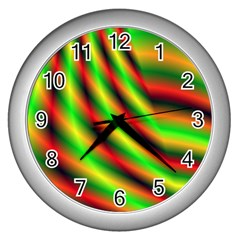 Neon Color Fractal Lines Wall Clocks (Silver)