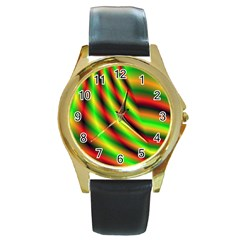 Neon Color Fractal Lines Round Gold Metal Watch