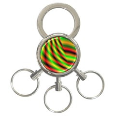 Neon Color Fractal Lines 3-Ring Key Chains