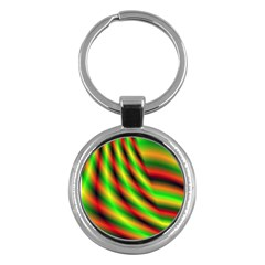 Neon Color Fractal Lines Key Chains (round)