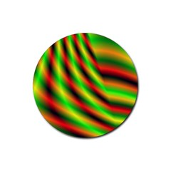 Neon Color Fractal Lines Rubber Coaster (Round)