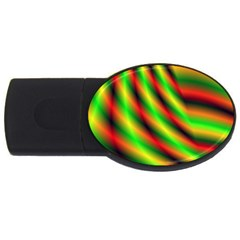 Neon Color Fractal Lines Usb Flash Drive Oval (2 Gb)