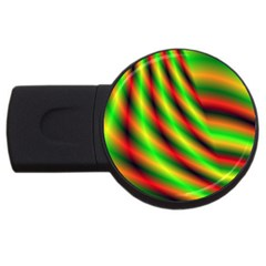 Neon Color Fractal Lines Usb Flash Drive Round (4 Gb)