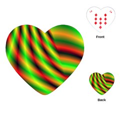 Neon Color Fractal Lines Playing Cards (Heart)