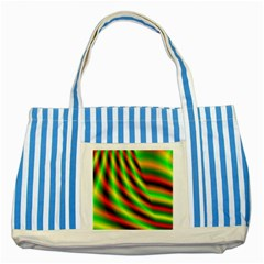 Neon Color Fractal Lines Striped Blue Tote Bag