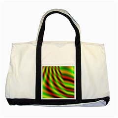 Neon Color Fractal Lines Two Tone Tote Bag