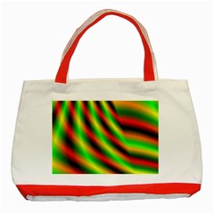 Neon Color Fractal Lines Classic Tote Bag (red)