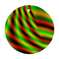 Neon Color Fractal Lines Round Ornament (Two Sides)