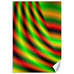 Neon Color Fractal Lines Canvas 12  X 18