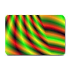 Neon Color Fractal Lines Small Doormat