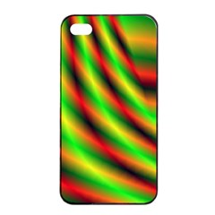 Neon Color Fractal Lines Apple iPhone 4/4s Seamless Case (Black)