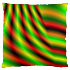 Neon Color Fractal Lines Large Cushion Case (One Side)