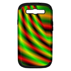 Neon Color Fractal Lines Samsung Galaxy S III Hardshell Case (PC+Silicone)