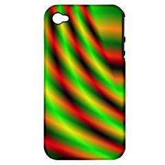 Neon Color Fractal Lines Apple iPhone 4/4S Hardshell Case (PC+Silicone)