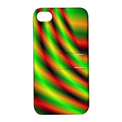 Neon Color Fractal Lines Apple iPhone 4/4S Hardshell Case with Stand