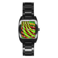Neon Color Fractal Lines Stainless Steel Barrel Watch
