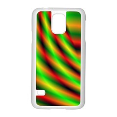 Neon Color Fractal Lines Samsung Galaxy S5 Case (White)
