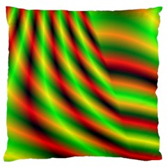 Neon Color Fractal Lines Large Flano Cushion Case (One Side)
