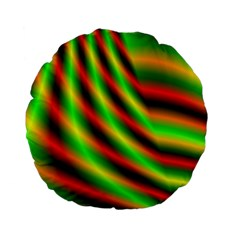Neon Color Fractal Lines Standard 15  Premium Flano Round Cushions