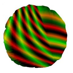Neon Color Fractal Lines Large 18  Premium Flano Round Cushions