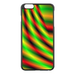 Neon Color Fractal Lines Apple Iphone 6 Plus/6s Plus Black Enamel Case