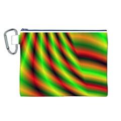 Neon Color Fractal Lines Canvas Cosmetic Bag (L)