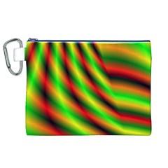 Neon Color Fractal Lines Canvas Cosmetic Bag (XL)