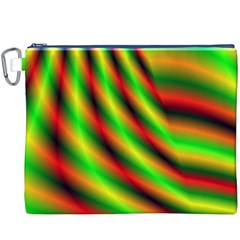 Neon Color Fractal Lines Canvas Cosmetic Bag (XXXL)