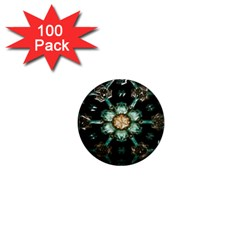 Kaleidoscope With Bits Of Colorful Translucent Glass In A Cylinder Filled With Mirrors 1  Mini Magnets (100 pack)