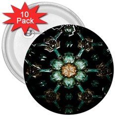Kaleidoscope With Bits Of Colorful Translucent Glass In A Cylinder Filled With Mirrors 3  Buttons (10 pack)