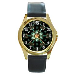 Kaleidoscope With Bits Of Colorful Translucent Glass In A Cylinder Filled With Mirrors Round Gold Metal Watch