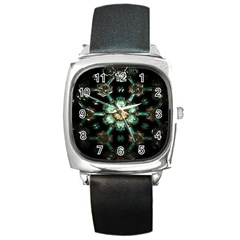 Kaleidoscope With Bits Of Colorful Translucent Glass In A Cylinder Filled With Mirrors Square Metal Watch