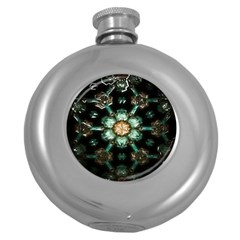 Kaleidoscope With Bits Of Colorful Translucent Glass In A Cylinder Filled With Mirrors Round Hip Flask (5 Oz)
